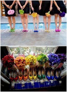 Rainbow Hochzeit Brautschuhe Brautstrauße 2014