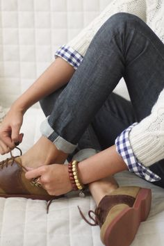 Brown oxfords, cuffed jeans, blue and white plaid, and creamy cable knit sweater. Perfect.