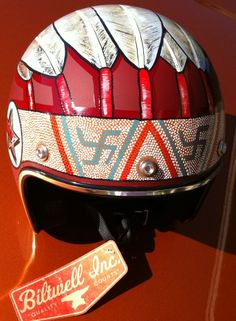 Hand panted Indian themed Biltwell helmet, by Lucky B Design. (These are not swastikas. They are ancient Indian symbols.)