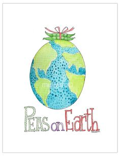 Peas on Earth watercolor illustration print OR by marleyungaro