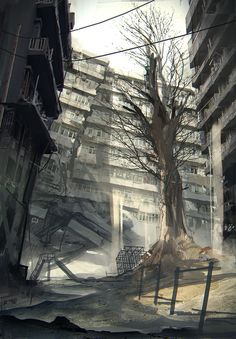 """""""Some concept art of a desolate environment from NieR: Automata. Nier Automata, Final Fantasy Vii, Fantasy Landscape, Landscape Art, Landscape Concept, Landscape Illustration, Drakengard Nier, Post Apocalyptic Art, Ruined City"""