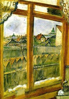 Vista dalla finestra , Vitebsk di Chagall