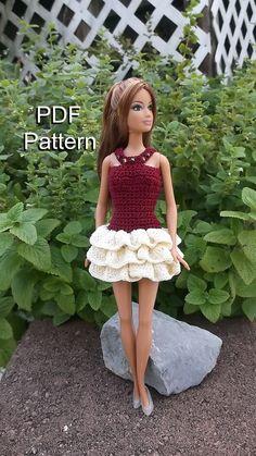 Barbie Clothes Crochet Pattern Ruffled Mini Skirt Dress PDF