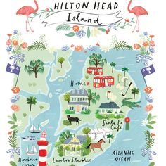 September 2015 Blog Post. A map of Hilton Head Island. Wedding stationery illustrated by Clair Rossiter for Jolly Edition.