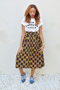 African Textiles, African Print Fashion, Ankara Styles, Look Fashion, Style Guides, Afro, Midi Skirt, High Waisted Skirt, Wax