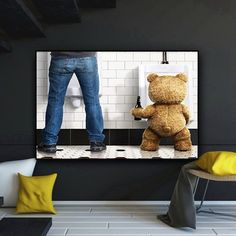 Modern Humor Canvas Painting Funny Teddy Bear Man in Toilet Poster Hd Print Wall Art Picture for Bathroom Living Room Decoration Bathroom Pictures, Wall Art Pictures, Funny Paintings, Bathroom Wall Art, Living Room Art, Great Rooms, Wall Art Prints, Toilet, Bedroom Decor