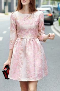 Round neck 3/4 sleeve flower embroidery women's dress