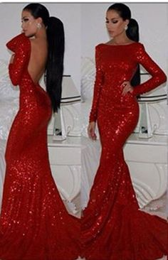 Sexy Red Mermaid Prom Dresses 2015 Long Sleeves High Neck Sparkly Evening Gowns with Sequined