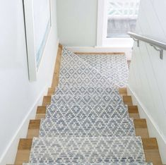 A woven rug from Dash & Albert is an inviting addition to your home. Come by one of our locations to check out our rug & runner collections! We will help you choose the right color and install the runner as well. Staircase Runner, Carpet Runner On Stairs, Stair Rug Runner, Runners For Stairs, Runner Rugs, Hallway Runner, Hallway Carpet Runners, Pattern Carpet On Stairs, Wood And Carpet Stairs