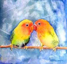 Lovey Dovey Lovebirds Painting by Arline Wagner