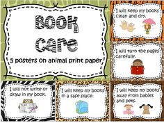 5 book care posters on cute animal print paper. Be sure and check out my other animal print products.