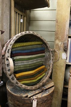 Country Plus Hopkinton,MA Walker Homestead's hand dyed wool - idea for fabric storage