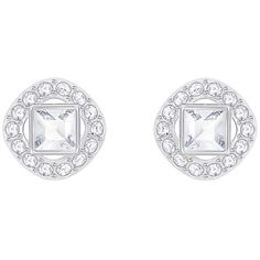 Angelic Square Pierced Earrings, White, Rhodium plating Jewelry ($59) ❤ liked on Polyvore featuring jewelry, earrings, rhodium plated earrings, sparkle jewelry, pave earrings, pave jewelry and white earrings