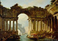 Hubert Robert - H.Robert, Architekturensemble mit Kanal
