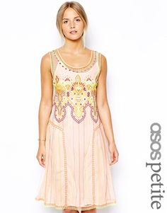ASOS PETITE Exclusive Indie Summer Embroidered Smock Dress