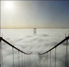 bridge under clouds
