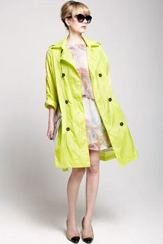 The trench coat is made of nylon, featuring  turndown collar, long sleeves, double breasted button front, shoulder strap embellishment, pockets to each side, all in loose fit.$115