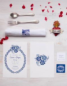 Caro y Pepe Wedding invitation folk style
