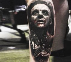Black and red realistic tattoo style of Hannibal Lecter from the movie Silence of the Lamb, done by tattoo artist Eliot Kohek Grey Ink Tattoos, Body Art Tattoos, Crow Tattoos, Phoenix Tattoos, Wrist Tattoos, Tattos, Infinity Tattoo On Wrist, Infinity Tattoos, Arte Horror