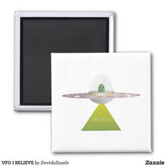 UFO I BELIEVE Magnet  Available on more products! Type in the name of this design in the search bar on my Zazzle products page to see them all!  #ufo #alien #space #outer #universe #ship #flying #saucer #little #green #men #conspiracy #theory #cartoon #illustration #funny #drawing #digital #scifi #science #fiction #buy #zazzle #sale #for #sale #magnet #refrigerate #refrigerator #kitchen #accessory