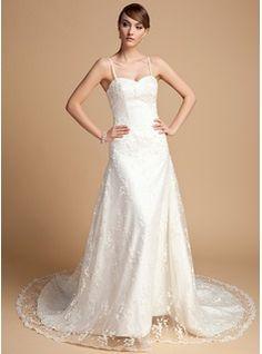 A-Line/Princess Sweetheart Chapel Train Satin Lace Wedding Dress With Beading (002014722) - JJsHouse