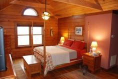 Tour a log house designed to enable an Asheville, N., couple to remain in their mountain home as they age while enjoying the Clearbrook floor plan. Log Home Bedroom, Bedroom Decor, Loft Bedrooms, Mountain Designs, Mountain Homes, Beautiful Bedrooms, Log Homes, Floor Plans, House Design