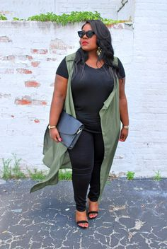 Musings of a Curvy Lady, Plus Size Fashion, Fashion Blogger, Kim K inspired, all black outfit, duster vest outfit, Charlotte Russe, Charlotte Russe Plus, Charlotte Russe It Girl, Women's Fashion, Plus Model, Style Hunter, The Outfit