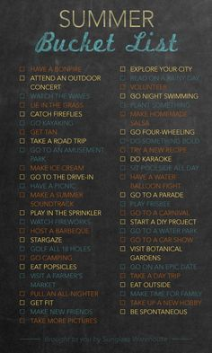 Bucket List: 50 things to do this summer. I love the idea of getting out and exploring your own home.