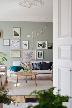 Swedish Living Room in Green and Cognac.