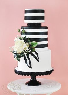 Black and White Stripe - Cake by Anna Elizabeth Cakes