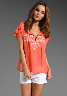 CENTRAL PARK WEST Cabo Embroidered Silk Top in Coral at Revolve Clothing - Free Shipping!