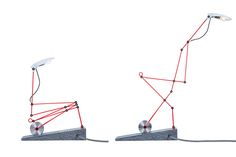 Lighting fixtures inspired by construction cranes and heavy lifting machines.