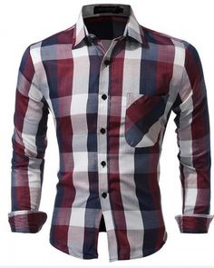 3263c8687c5 Wine and brown plaid long sleeve button down shirt for men Casual Shirts  For Men