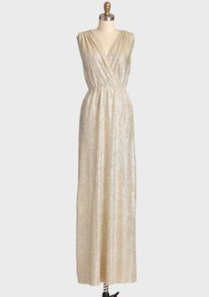 Spark Of Light Metallic Maxi Dress 52.99 at shopruche.com. Finished with a silver metallic sheen, this enchanting gold-toned maxi dress features a flattering surplice neckline and gathering at the waist for a defined silhouette. Pair with elegant heels and statement earrings or a jeweled headband for a...
