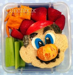 Mario Brothers bento box lunch. Wow, that's some effort!