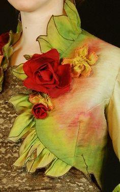 Hand dyed silk Rose's Edge Ruffled Jacket by MaryGwyneth Fine Wearable Art...$1299