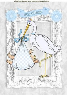 CUTE BABY BOY WITH STORK IN SILVER FRAME A4 on Craftsuprint - Add To Basket!