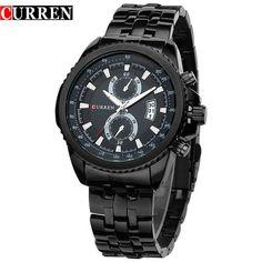 New Men Fashion Casual Dress Quartz Wristwatches Male Date Calendar Analog Full Steel Watch