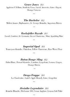 The new absinthe cocktail selection at Brooklyn's Maison Premiere. Including the Drogo Frappé: La Clandestine, Laird's Apple Brandy, Lime and Grapefruit. The full menu can be seen at http://maisonpremiere.com/images/Absinthe_Menu.pdf