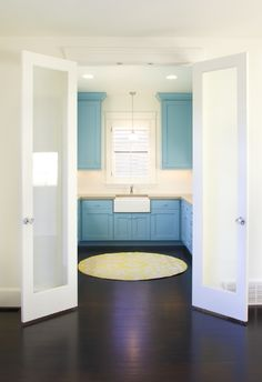 Frosted glass doors + whatever that blue is, rocks the house. Reminds me of seaglass.