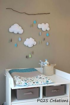 Changing table space in shades of blue and brown. Baby Bedroom, Baby Room Decor, Kids Bedroom, Baby Couture, Nursery Inspiration, Baby Sewing, Boy Room, Diy For Kids, Furniture