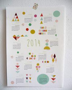 PRINTABLE CALENDAR 2014 poster size A3  PDF by mademoiselleyo