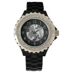 Black Face Watches for Women Your Photo - photo, picture, black, face, photo birthday, black face, women, christmas, women s black face, personalized, personalized photo, with pictures in face, personalized photo for women, black face for women, silver, women's, customizable, personalized with photo, big, numbers, large number, large, photos, pictures, for her, for women