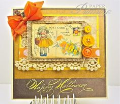 Vintage, shabby chic using 'Halloween Post Card' digital from 'Digital Paper' on Etsy. RebeccaDeeprose for The Shabby Tea Room