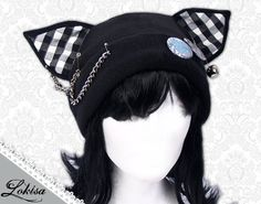 Cat Kitty Fleece Hat  Anime Cosplay Punk JRock  (Checkered Ears)