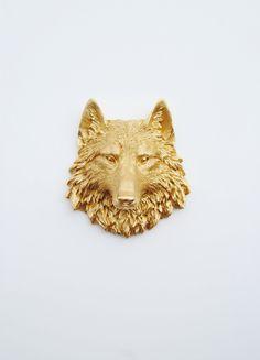 Gold Mini Resin Wolf Head