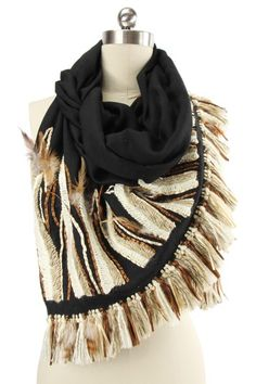 Scarves by Saachi Feathers Scarf - Black.
