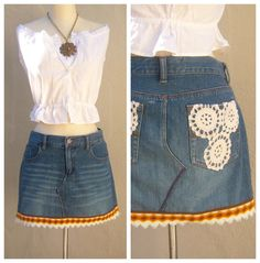 Upcycled denim mini skirt / 70s trim vintage by dahlilafound
