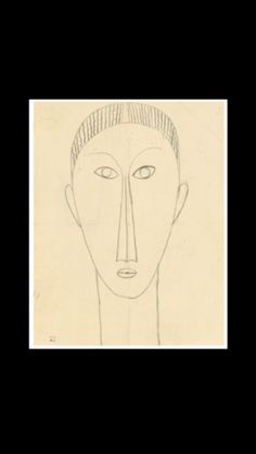 "Amedeo Modigliani - "" Tête de face "", 1910/1911 - Black crayon on paper - 31,4 x 24,4 cm (*)"