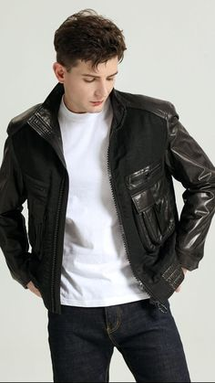 Best Smart Casual Outfits, Latest Outfits, Boys Leather Jacket, Mens Fashion, Fashion Outfits, Mens Clothing Styles, Casual Chic, Style Guides, Military Jacket